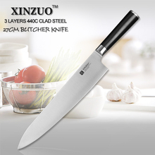 XINZUO 10.5 inch butcher knife 440C clad steel kitchen knife professional chef knife vegetable knife G10 handle free shipping