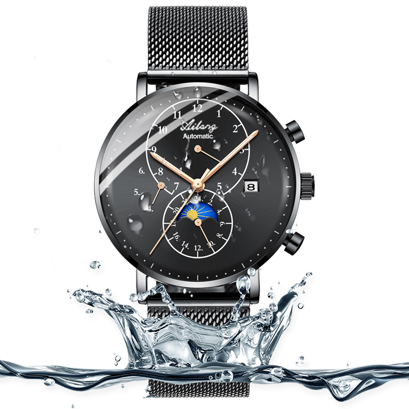 Watches Men AILANG Top Brand Luxury Men's Sports Waterproof mechanical Watch Man Black Full Steel Military Automatic Wrist watch