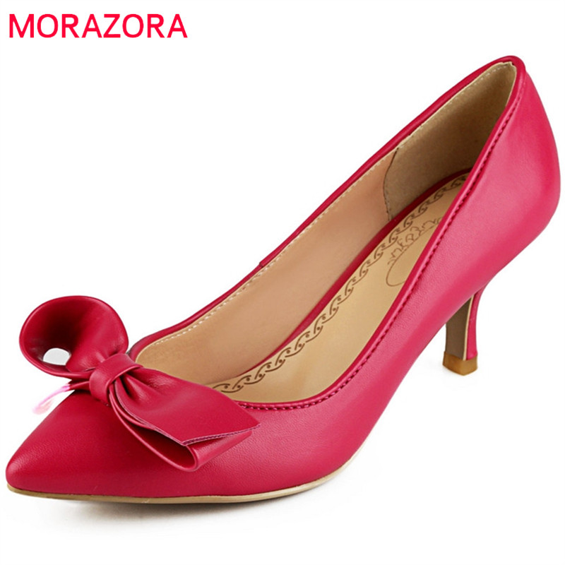 MORAZORA 2018 new hot sale women pumps comfortable shallow sweet bowknot fashion pointed toe size 33-44 high heels shoes fashion women shoes woman flats high quality comfortable pointed toe rubber women sweet flats hot sale shoes size 35 40
