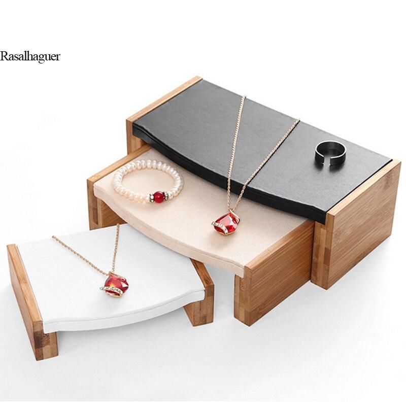 Mode De Table En Bambou Trois-pièce Bijoux Présentoir Boucles D'oreilles Nexklaces Pendentifs Bijoux Accessoires Simple Bijoux Emballage ventes