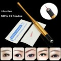 Gold Alloy Tattoo Microblade Pen Professional Tebori Eyebrow Eye Lip Permanent Makeup Manual Machine With 50pcs Round 19 Needles