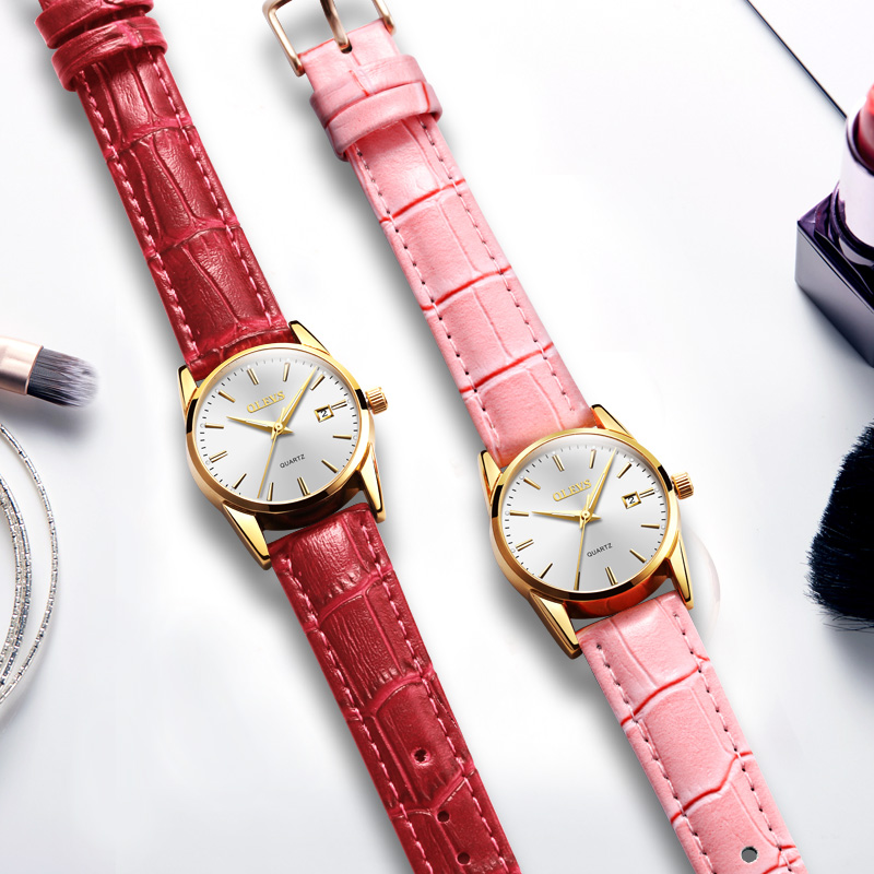 Couple Watches OLEVS Brand Lovers Watch Rose Gold Men Leather Wrist watches Waterproof Lady Quartz Wristwatch Reloj Mujer couple watches for lovers pair ultrathin luxury olevs brand quartz wrist watch fashion waterproof men women wristwatches relogio