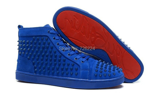 4546421a7eb0 Free shipping men s sneakers Red Bottoms sneakers Royal Blue stud spikes  flats sneakers shoes High top lace up boots