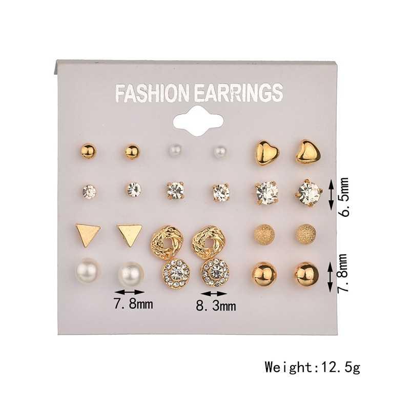 Fashion 12 pair/set Women Square Crystal Heart Stud Earrings for Women Piercing Simulated Pearl Flower Earrings