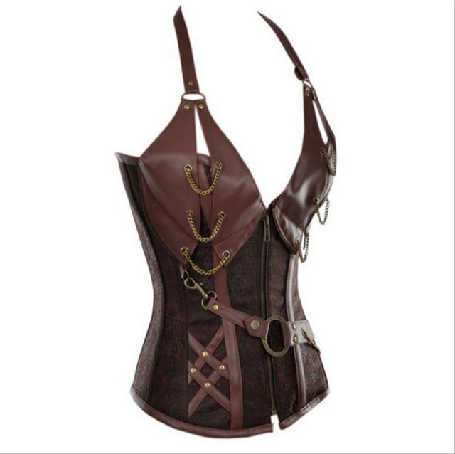 Clubwear steel boned corset overbust black brown corset