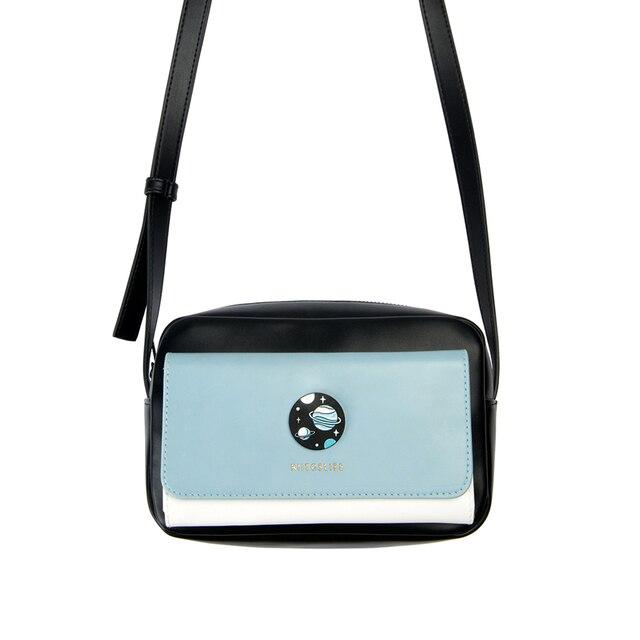 Kiitos ライフ四角い PU 女性のクロスボディバッグコントラスト色で遭遇シリーズオリジナル設計された 4 スタイル (楽しい観測点)