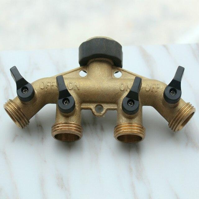 4 voies en laiton du robinet adaptateur tuyau vanne du collecteur parfait pour 4 tuyau outletsof - Adaptateur douchette sur robinet ...