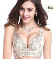 Free Shipping Sexy Women Deep V Style Printing Underwire Push Up Bras