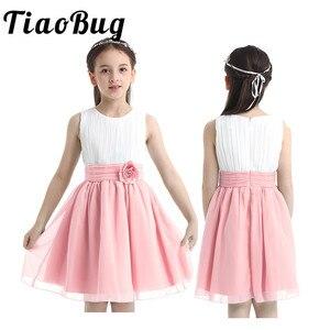 Image 1 - Шифоновые платья для девочек с цветами 2020, бальные платья из фатина без рукавов для первого причастия, вечерние летние платья пачки