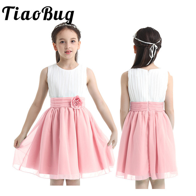 Flower Girls Chiffon Dresses 2020 Sleeveless Tulle Ball Gown Pageant Dresses For Girls First Communion Party Summer Tutu Dresses