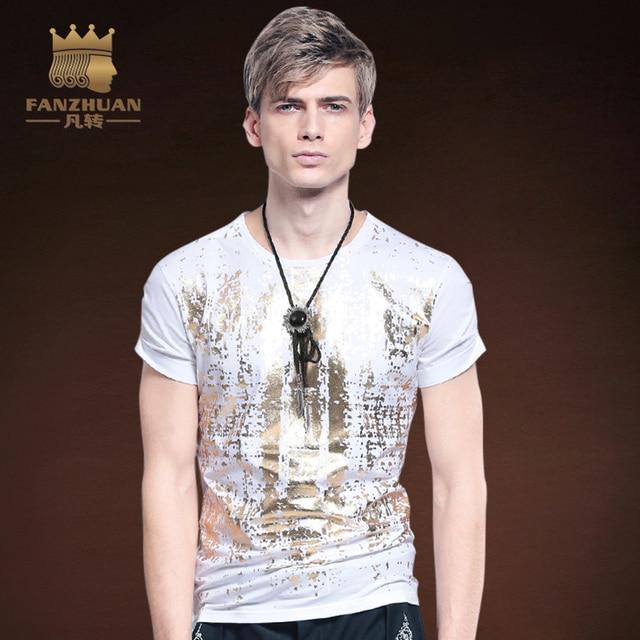 c268d6497a2 FANZHUAN Featured Brands Clothing men t shirt casual short sleeve Bronzing  Pattern mens T-shirt Fashion cool T shirt for men