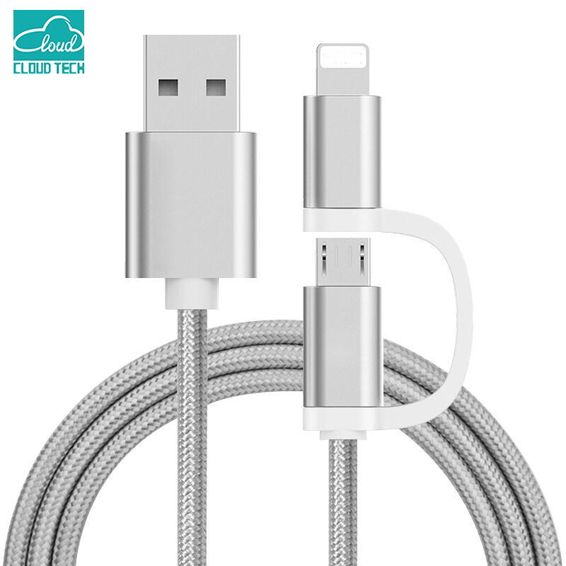 2 in 1 Aluminium Micro USB cable 1 Mt Charging Cell Cable for iPhone 6 5