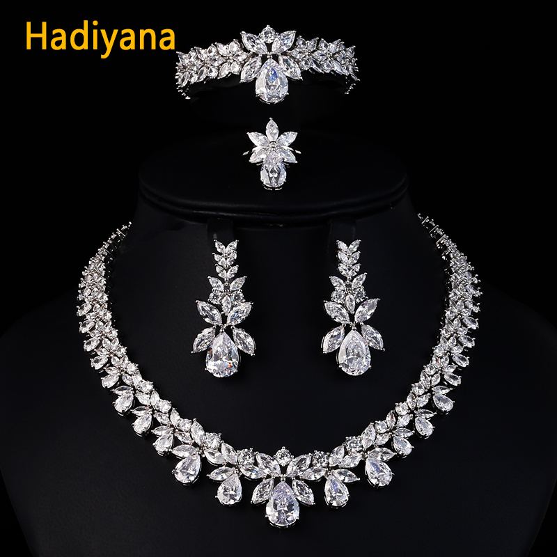 Hadiyana Luxury Bridal Wedding Jewelry Sets For Women New Sparkling AAA Zircon Paved Copper Fashion Bridesmaid