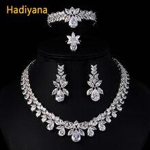 Hadiyana роскошные свадебные комплекты ювелирных изделий для новинки женщин сверкающие отделка цирконами AAA медь Мода невесты CN184