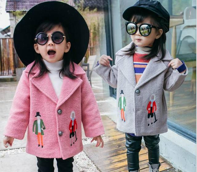2016 Winter New Girl Coat Embroidered Wool Quilted Thick Long Sleeve Fashion Outerwear Children Clothing 2-5Y DY8638