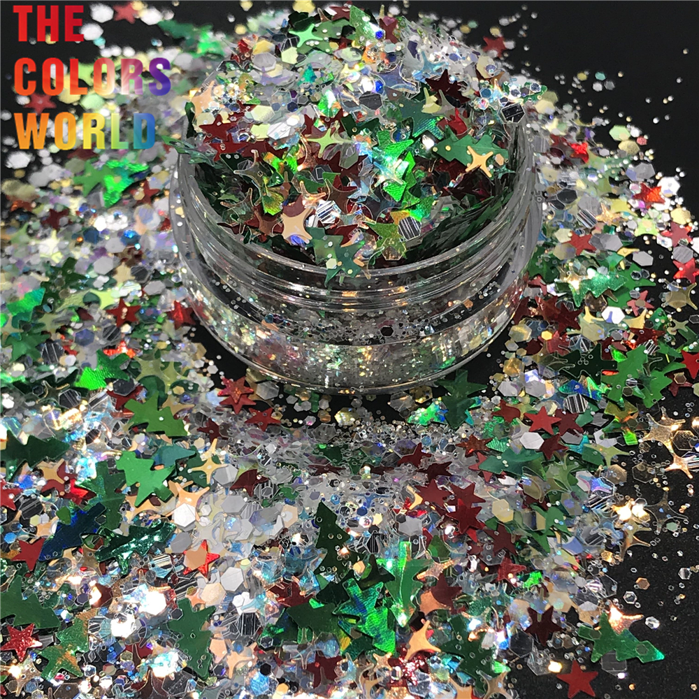 TCT-245 Christmas Mix Nails Glitter Xmas Nail Art Decoration Nail Design Body Glitter Face Paint Makeup Handwork DIY Accessoires