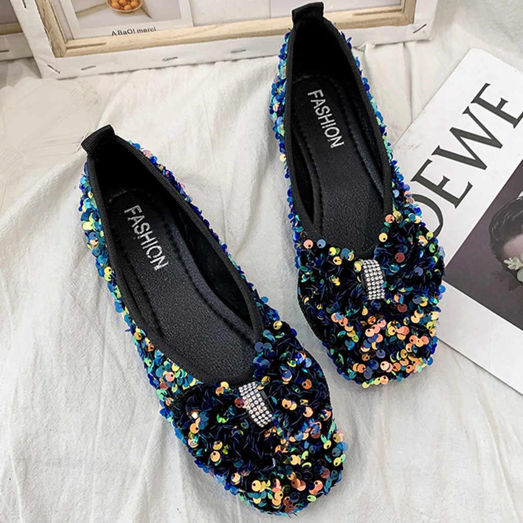 Женская обувь на плоской подошве; коллекция 2019 года; модная женская повседневная обувь на плоской подошве с бантом; Лоферы без застежки; женская обувь на плоской подошве с квадратным носком