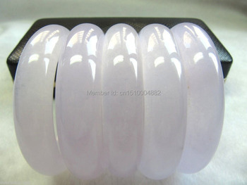 shitou 00216 Wholesale 3PCS Chinese ICY Lavender Jade Smooth Bangle / Size: 59~62mm