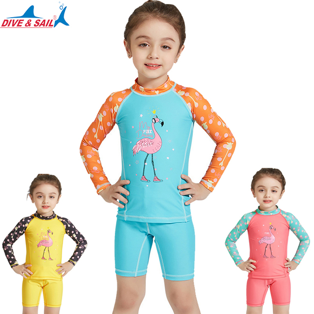 1974cf63f1 DiveSail 3-10Y KIDS Girls Swimwear Swimsuit Swimming separately two pieces  suit Bathing UPF 50+ Long Sleeve Surf