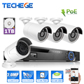 Techege 4CH 1080P 48V / 15V PoE NVR 2.0MP IP Camera POE System Cloud 1080 NVR KIT Camera Surveillance System CCTV System PoE Kit