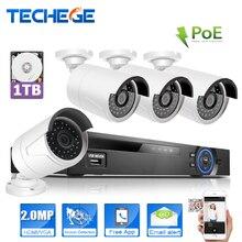 Techege 4ch 1080 p 48 v/15 v poe nvr 2.0mp kamera ip poe System Chmura 1080 ZESTAW Systemu Nadzoru CCTV System Kamery PoE NVR Kit