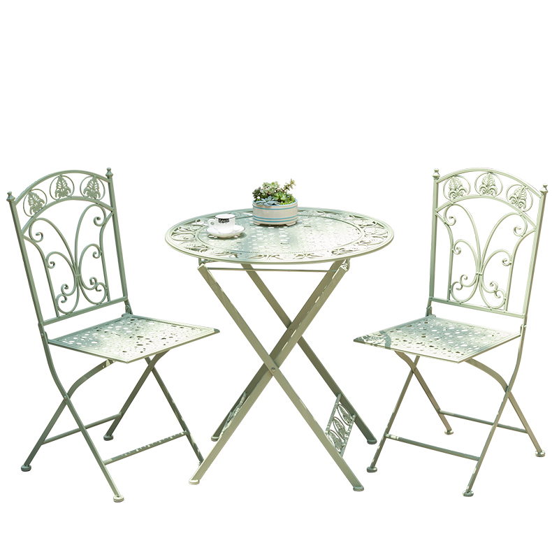 Outdoor folding wrought iron color table and chair combination three-piece iron balcony creative casual tea shop coffee table