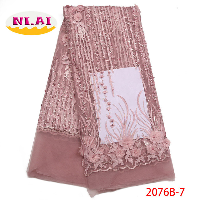 2018 African Wedding Lace Fabric High Quality Purple 3D Lace Trim Flower African Lace Fabrics For Nigerian Party Dress NA2076B-1