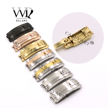 Rolamy 9mm x Brush Polish Stainless Steel Watch Buckle Glide Lock Clasp For Band Bracelet Straps Rubber