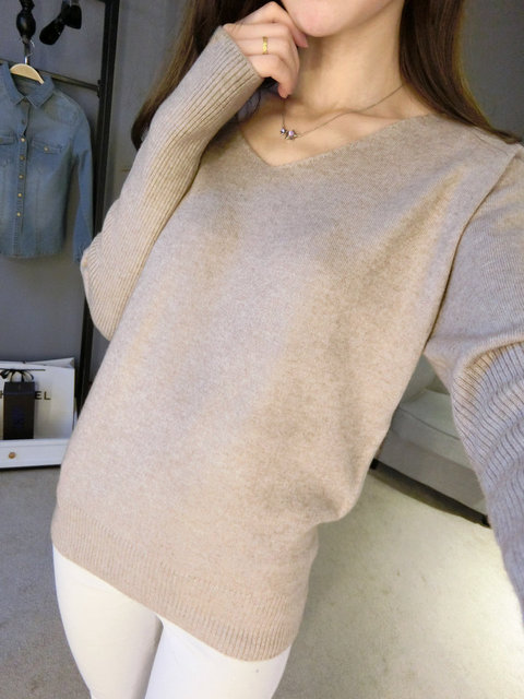 2018 spring autumn cashmere sweaters women fashion sexy v-neck sweater loose  wool sweater batwing sleeve plus size pullover 7ad72a7fa