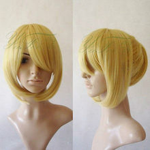 Wholesale heat resistant LY free shipping Kuroshitsuji Cosplay Party Short Blonde Wigs Fashion Style Cos Wigs