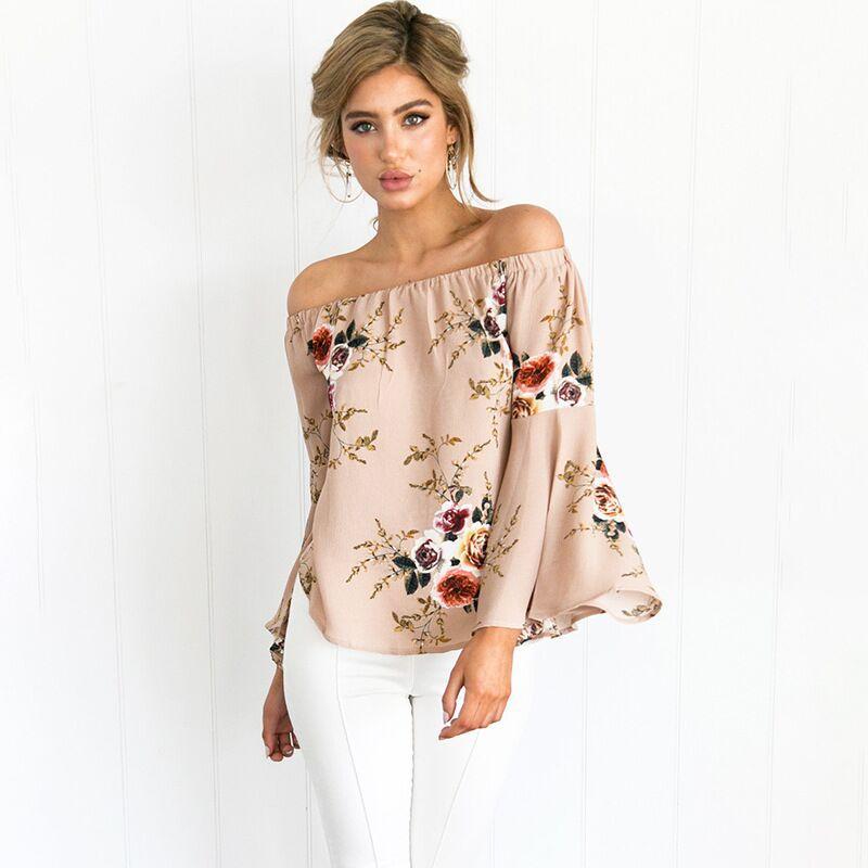 Off The Shoulder Tops For Women Summer 2018 New T Shirt Women Tops Print Flower Slash Neck Flare Sleeve Loose Top Women T-Shirt