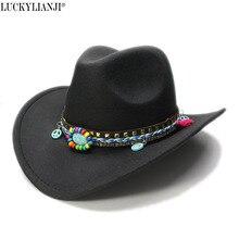 LUCKYLIANJI mujeres hombres Unisex de lana de fieltro vaquero Cowgirl  Western ala ancha Bowler sombrero signo de la paz turquesa. a9eb9f93e02