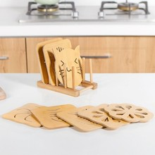 Heat insulation cushion set wooden meal 9pcs Set Cup kitchen thickening table bowl pad 15*15*20cm