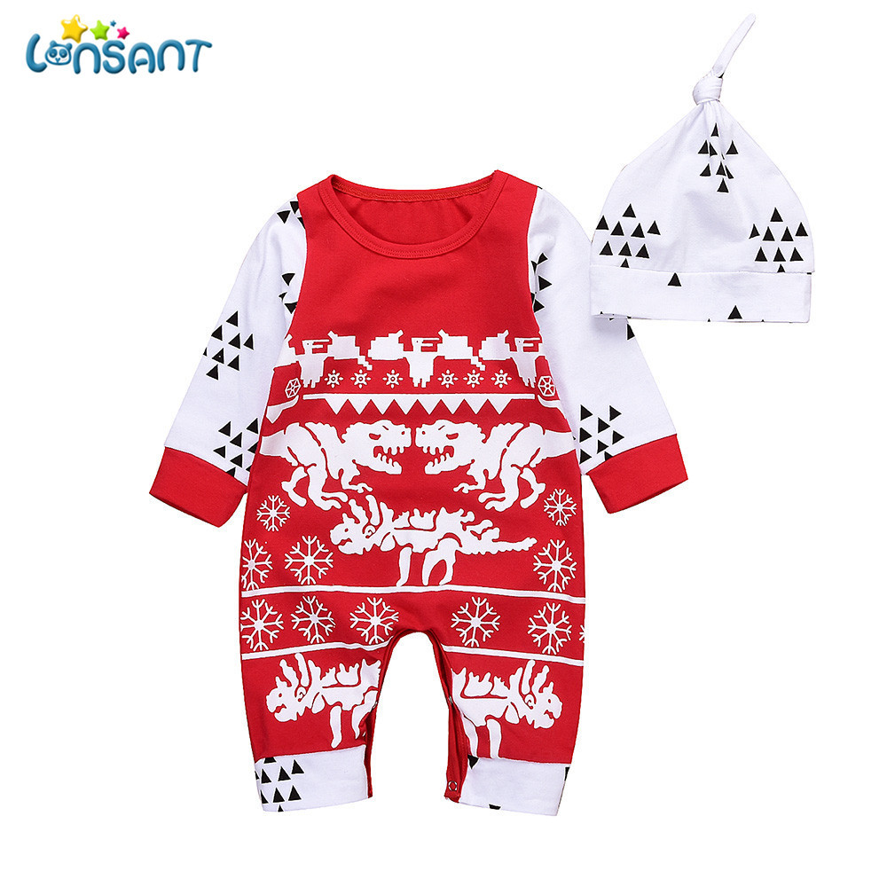 LONSANT Newborn Casual Infant Baby Boy Print Long Sleeve Boys Girls ...