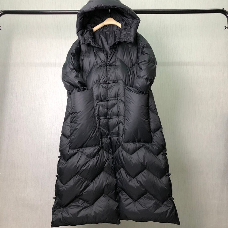 2018 New Women Winter Down Jacket Long Solid Color Coat Causal Loose Outer Warm Chinese Style Outwear Vintage Doudoune AC186