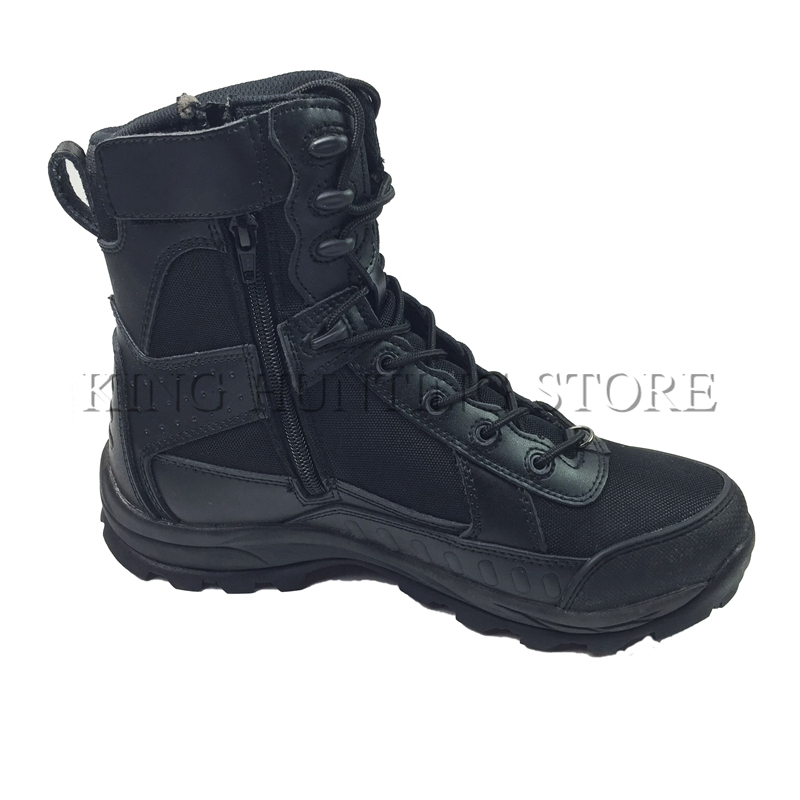Winter/autumn Men Military Leather Boots Zipper Side Special Force Tactical Desert Combat Boats Outdoor Hiking Training Shoes new outdoor hiking boots special forces tactical boots men s desert combat boots size 39 40 41 42 43 44 45