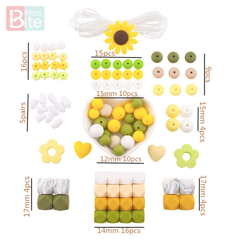 Bite Bites Silicone Beads Set Baby Teether Diy Children's Goods BPA Free Food Grade Silicone Rodent Rose Hexagon Silicone Bead