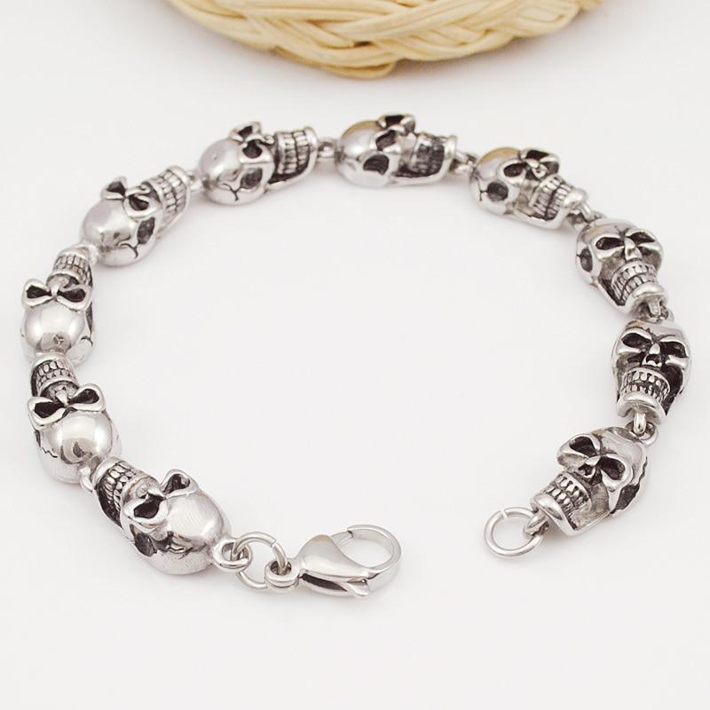 ROCK/PUNK Skull Link Bracelets Hand Chain Casting 316L Stains