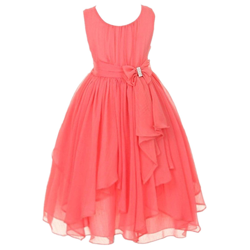 kids clothing junior girls dresses summer european style white yellow red pink purple chiffon flower girls dress for wedding