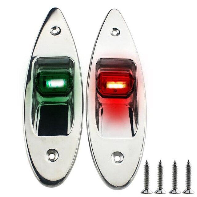 1 زوج 12 فولت مركبة بحرية LED أضواء الملاحة الأحمر الأخضر الفولاذ المقاوم للصدأ للماء الإضاءة