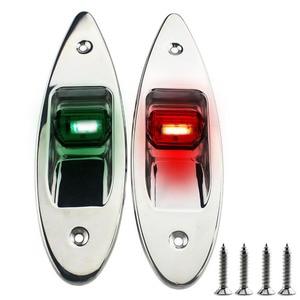 Image 1 - 1 пара 12В Морская Лодка светодиодная навигационная лампа красного и зеленого цвета из нержавеющей стали водонепроницаемое освещение