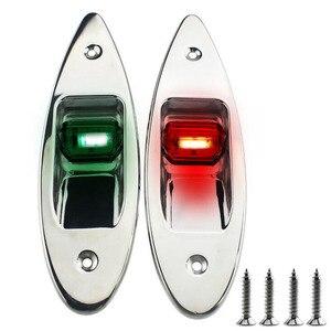 Image 1 - 1 çift 12 V tekne LED navigasyon ışığı Kırmızı Yeşil Paslanmaz Çelik Su Geçirmez Aydınlatma