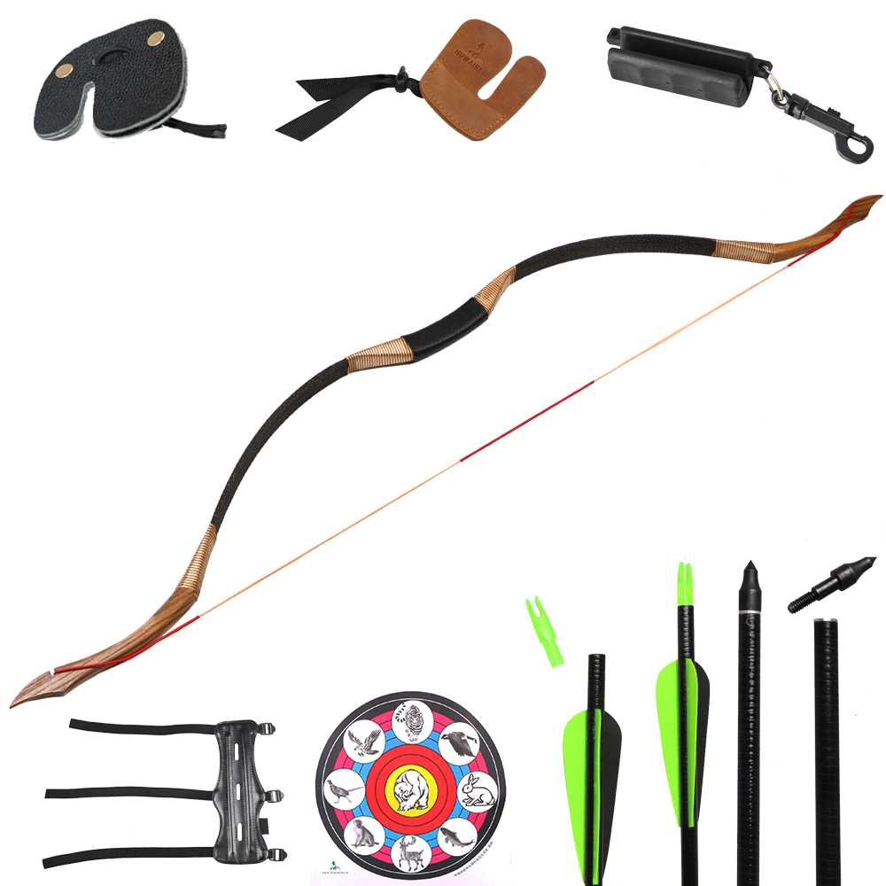 Bow Set Archery Recurve Traditional Bow Shooting Hunting Sports Laminated Wood Fiberglass Arrow Target Paper Arm Finger Guard archery black horse skin leather bow traditional recurve hunting bow 20 50lbs outdoor shooting sports bow