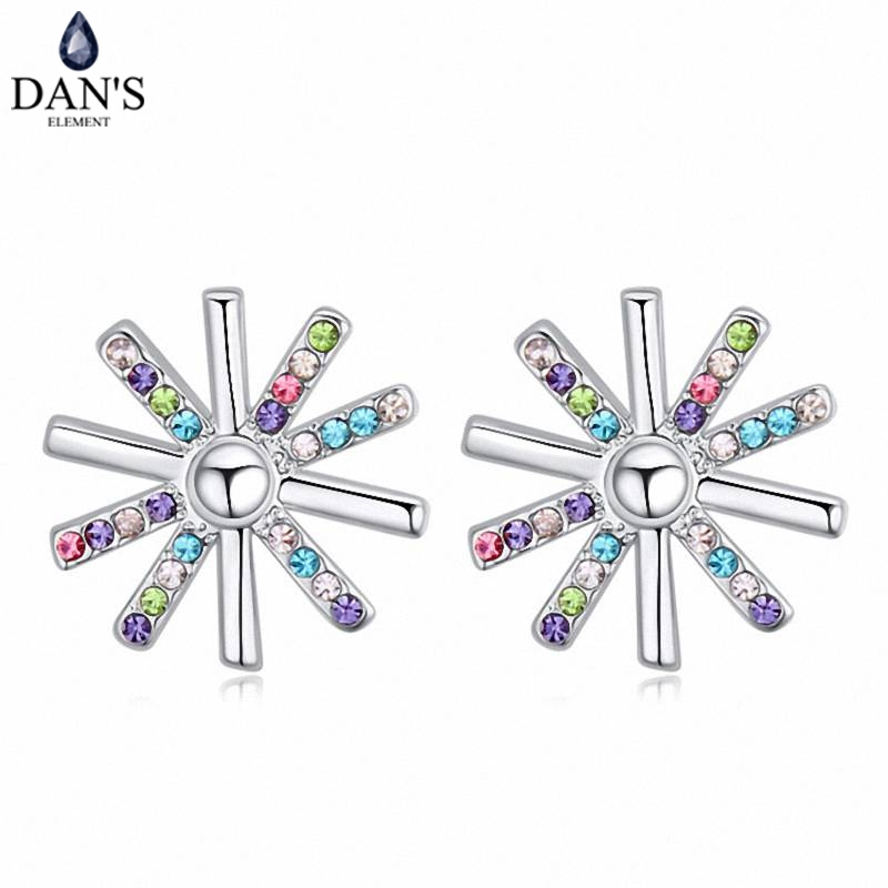 DANS 5 Colors Real Austrian crystals Stud earrings for women Earrings s New Sale Hot Round 120699