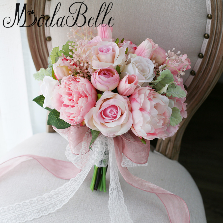 buy modabelle newest style pink peony tulip artificial brides bouquet lace. Black Bedroom Furniture Sets. Home Design Ideas