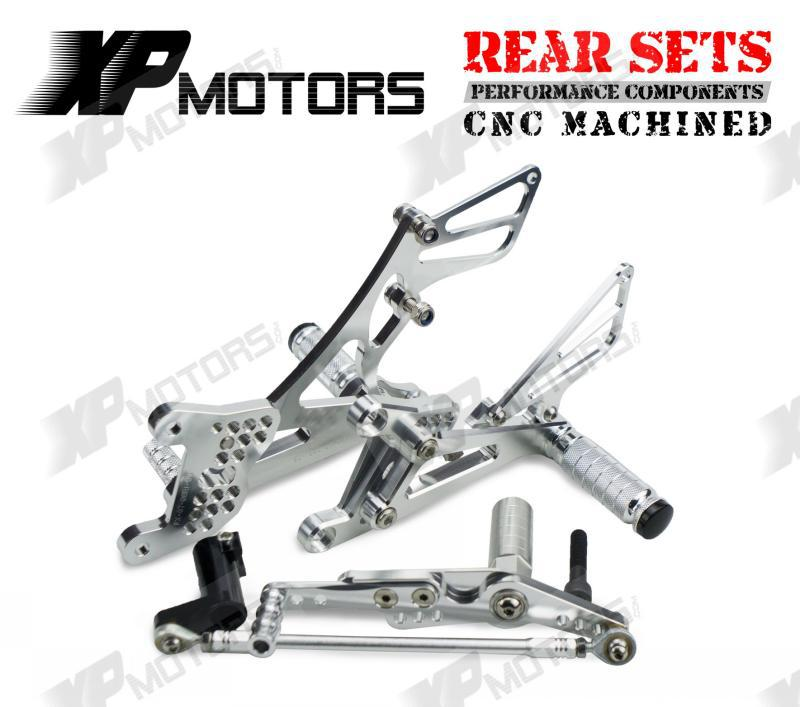 High Quality CNC Racing Foot pegs Adjustable Rearset Rear Sets For Yamaha R1 YZF R1 LE 2007 2008 Silver
