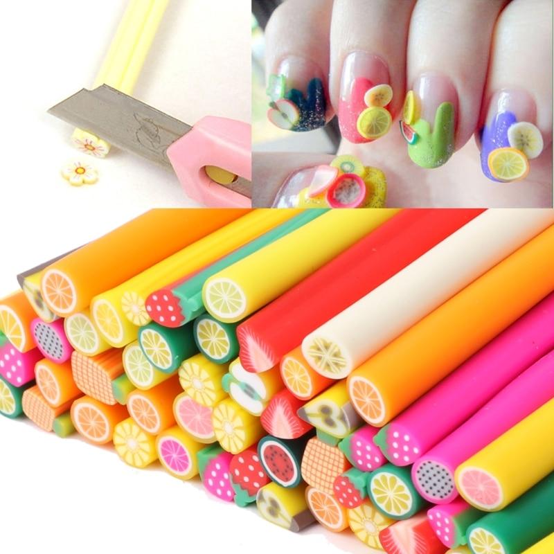 50Pcs 3D Cylinder Polymer Clay Nail Art Sticks Gel Rods Sticker ...