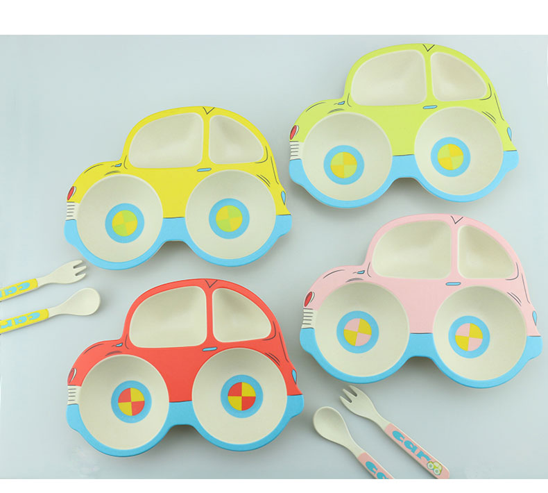 3Pcs/set Bamboo Fiber Kids Tableware Children Carton Training Plate Baby Feeding Dinnerware Set Baby Diner Dish Bowl Plates