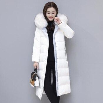 Fashion Winter Women's Down Jacket 2018 Winter Jacket Women 90% White Duck Down Coat Hooded Long Slim Female Parka Outwear