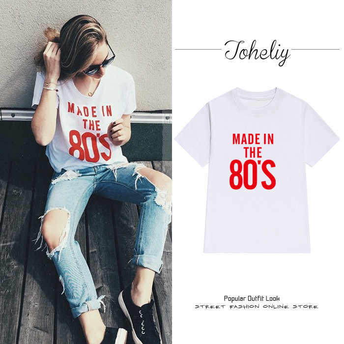 NEW Women's Bts Tops Europen and American street letters number 80's printed loose short-sleeved female t-shirts casual summer